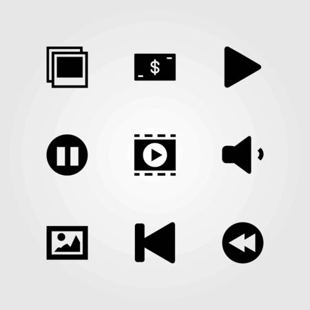 Buttons vector icons set. money, rewind and movie player Illustration
