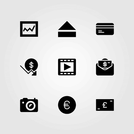Buttons vector icons set. dollar, money and movie player Illustration
