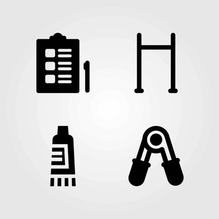 Fitness vector icons set. pull up bar, cream and checklist