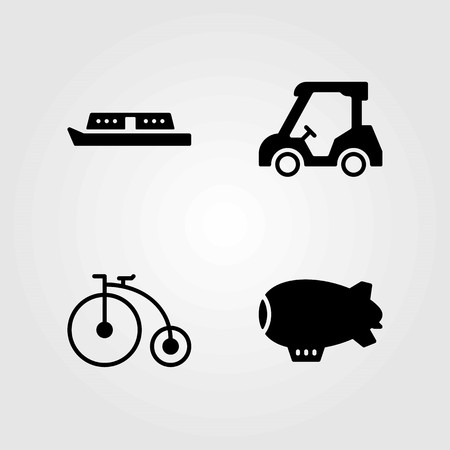 Transport vector icons set. bicycle, zeppelin and boat Stok Fotoğraf - 94064362