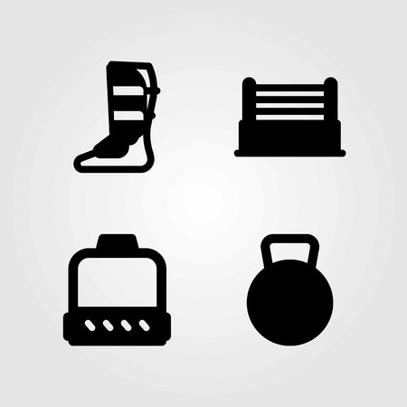 Fitness vector icons set. kettlebell, shinpad and ring