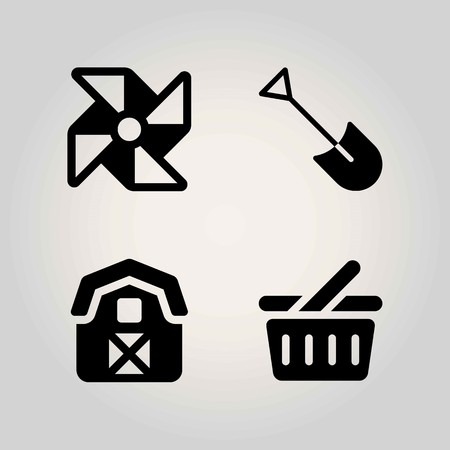 Farm vector icon set. shovel, pinwheel, basket and shopping basket