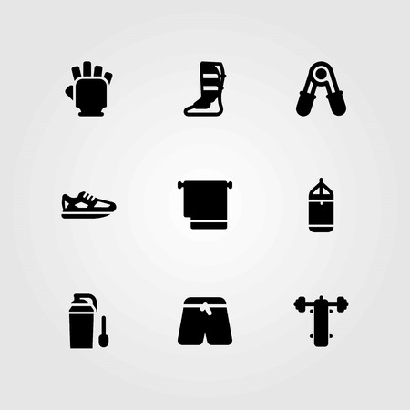 Fitness vector icons set. shoes, punching and shinpad Illustration