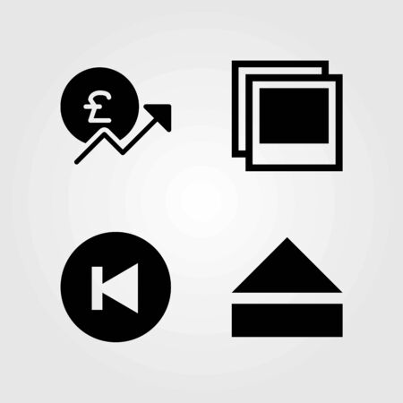 Buttons vector icons set. photo, pound sterling and back