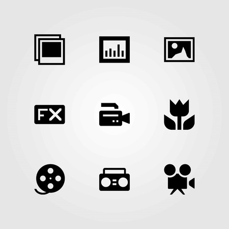 Multimedia vector icons set. analytics, film roll and fx