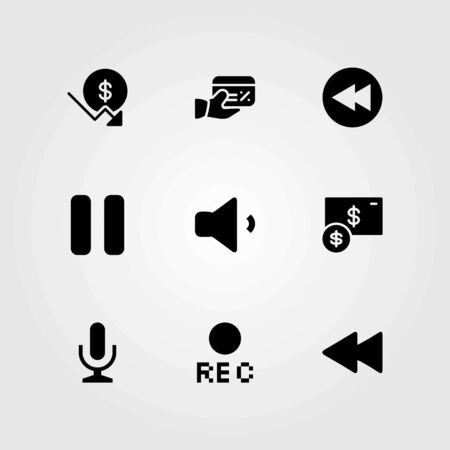 Buttons vector icons set. mic, pause and rec Illustration