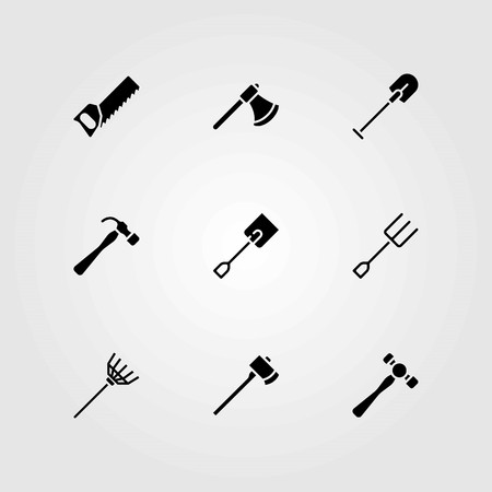 Garden vector icons set. fork, rake and hammer