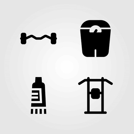 Fitness vector icons set. scale, pull up bar and cream