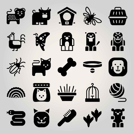 Animals vector icon set. bird house, ball, beaver and bee Illustration