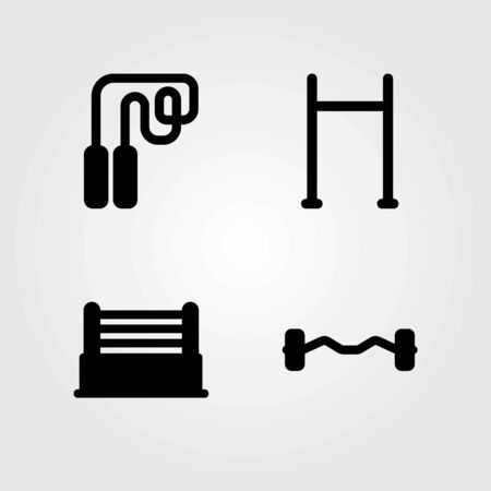 Fitness vector icons set. pull up bar, dumbbell and ring
