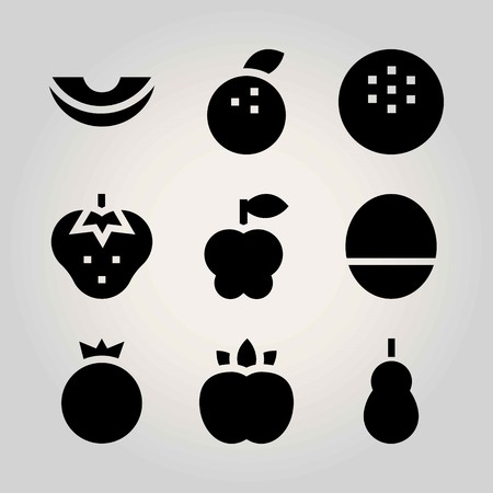 Fruits vector icon set. peach, pomegranate, tangerine and quince