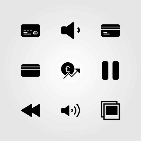 Buttons vector icons set. pause, volume and credit card Illustration