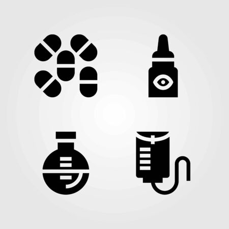 Medical vector icons set. pills, flask and drop counter