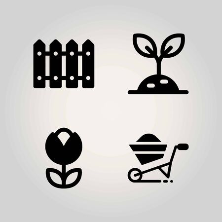 Farm vector icon set. tulip, wheelbarrow, fence and sprout
