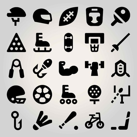 Sport vector icon set. bicycle, rafting, billiard and boxing mask