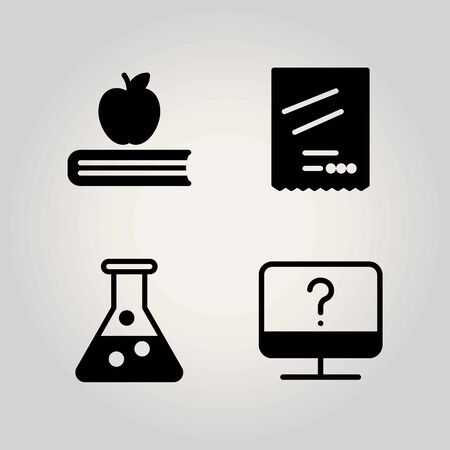 Science vector icon set. book, monitor and degree