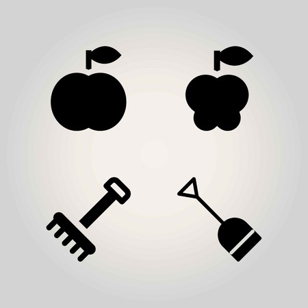 농업 벡터 아이콘을 설정합니다. 삽, 갈퀴, 사과 복숭아