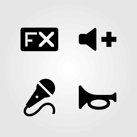 Multimedia vector icons set. volume, fx and microphone
