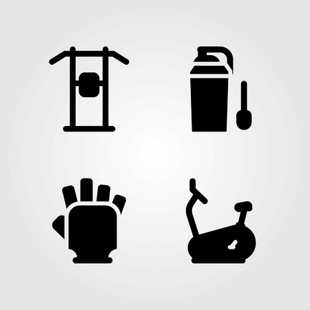Fitness vector icons set. protein, pull up bar and pull up