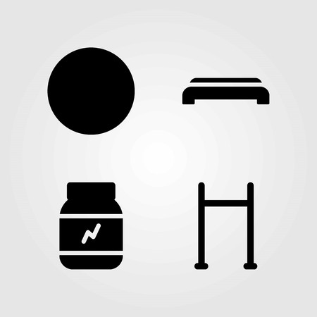 Fitness vector icons set. protein, pull up and ball Illustration