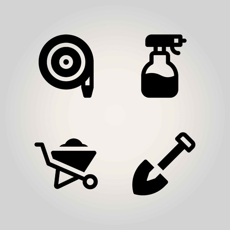 Agriculture vector icon set. wheelbarrow, sprayer, shovel and hose