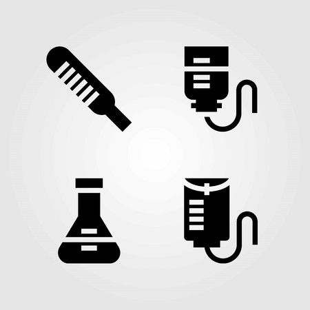 Medical vector icons set. drop counter, thermometer and flask 向量圖像