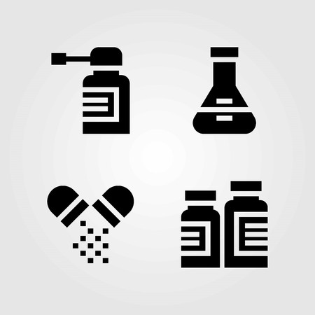 Medical vector icons set. pills, flask and spray 向量圖像