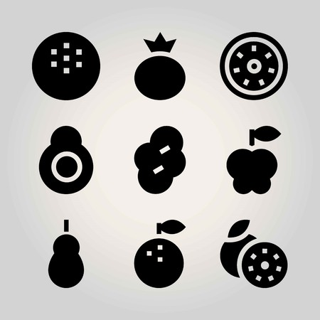 Fruits vector icon set. kiwi, apple, coconut and prune