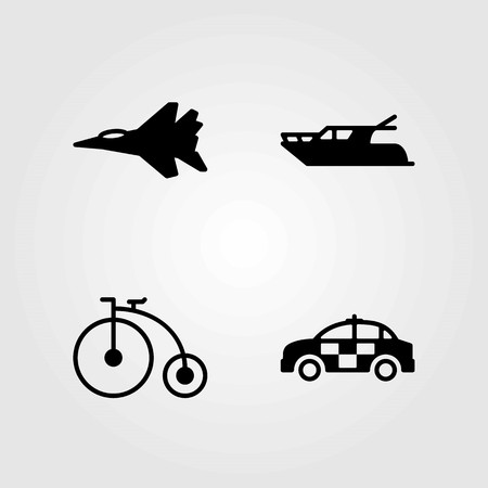 Transport vector icons set. bicycle, yatch and police car Vettoriali
