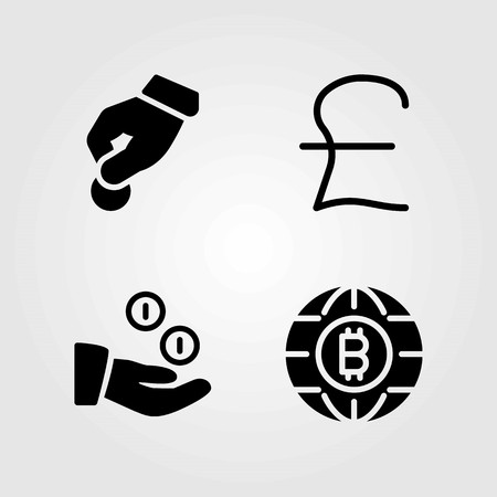 Bank vector icons set. coins, donate and coin Illusztráció