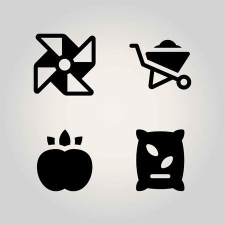 Agriculture vector icon set. fertilizer, pinwheel, peach and wheelbarrow Illustration