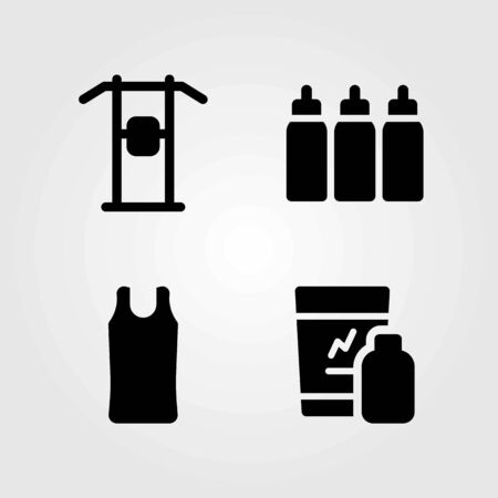 Fitness vector icons set. sport shirt, shakes and shirt