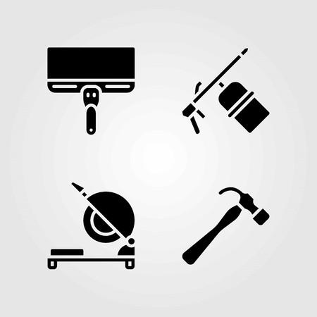 Tools vector icons set. welder, scraper and chop saw 矢量图像
