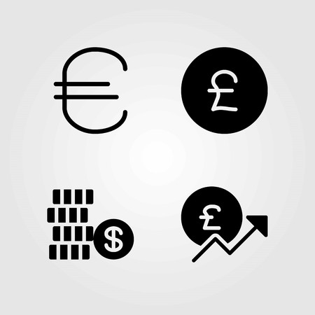 Sign vector icons set. coin, dollar and euro