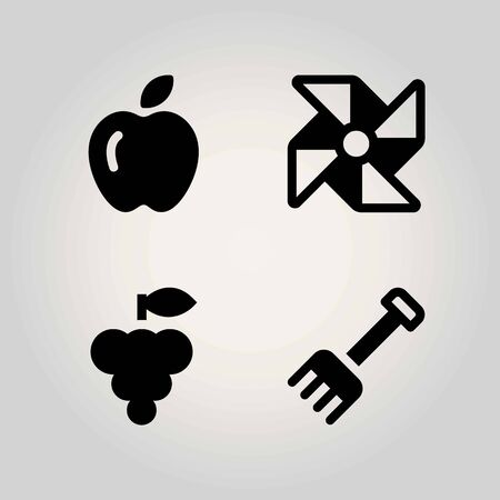 Agriculture vector icon set. rake, apple, pinwheel and grape
