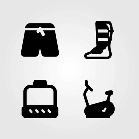 Fitness vector icons set. shinpad, pulley and stationary bike Çizim