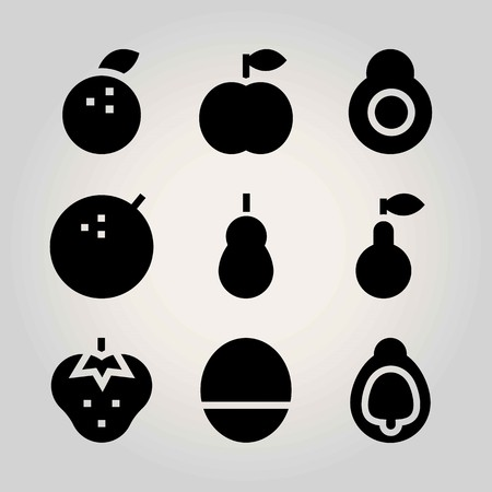 Fruits vector icon set. fig, avocado, tangerine and lime.