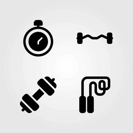 Fitness vector icons set. skipping, chronometer and dumbbell
