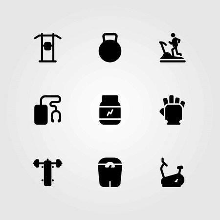 Fitness vector icons set, protein, kettle bell and gloves. Stock Illustratie