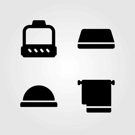 Fitness vector icons set. Gym mat, pulley and ball.