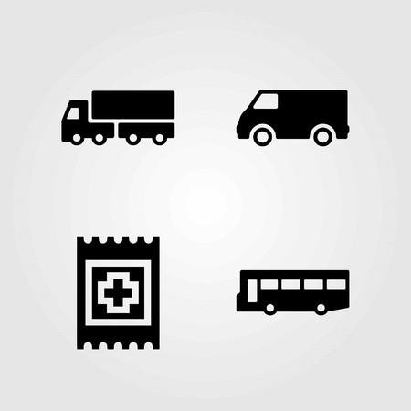 Transport vector icons set. aid, car and van