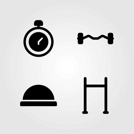 Fitness vector icons set. chronometer, bosu ball and dumbbell.