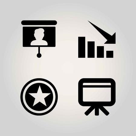 School vector icon set. whiteboard, blackboard and arrow Çizim