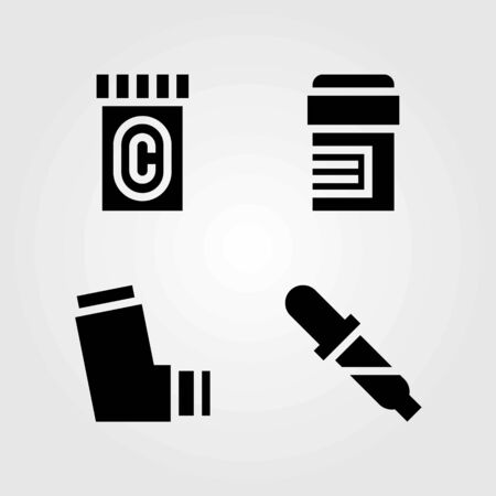 Medical vector icons set. pills, inhaler and pipette.
