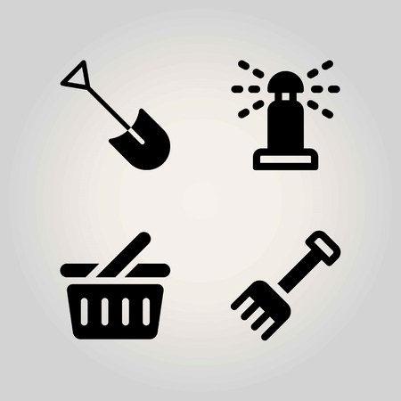 Agriculture vector icon set. sprinkle, basket, shopping basket and shovel. Ilustrace