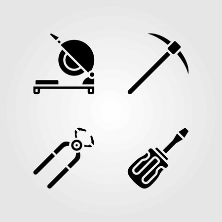 Tools vector icons set. pliers, chop saw and pick axe.