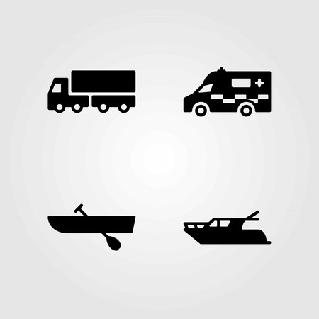 Transport vector icons set. ambulance, lorry and truck.