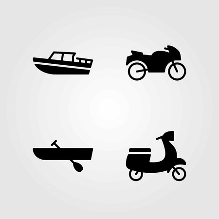 Transport vector icons set. motorbike, rowing and motorcycle Vettoriali