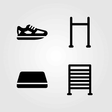 Fitness vector icons set. running shoes, gym mat and pull up bar Illustration
