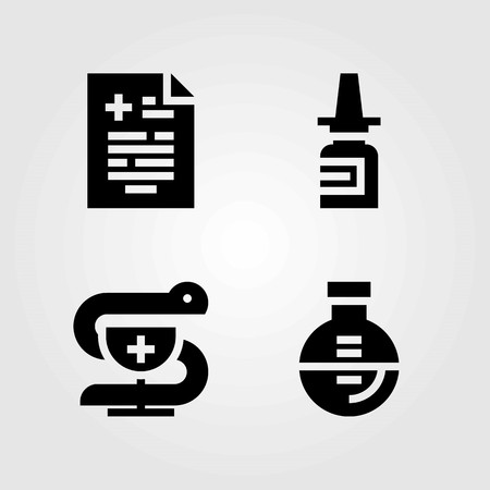 Medical vector icons set. pahrmacy, nasal spray and flask